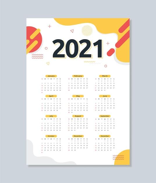 Szablon Kalendarza 2021 W Abstrakcyjnym Stylu Płaski Premium Wektorów