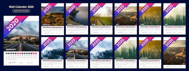 Szablon kalendarza 202 Premium Wektorów