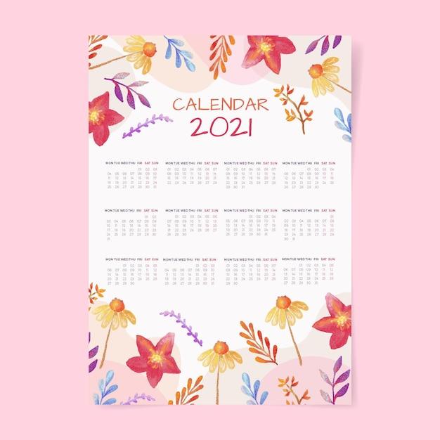 Szablon Kalendarza Akwarela Nowy Rok 2021 Premium Wektorów