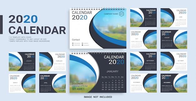 Szablon kalendarza biurkowego 2020 Premium Wektorów