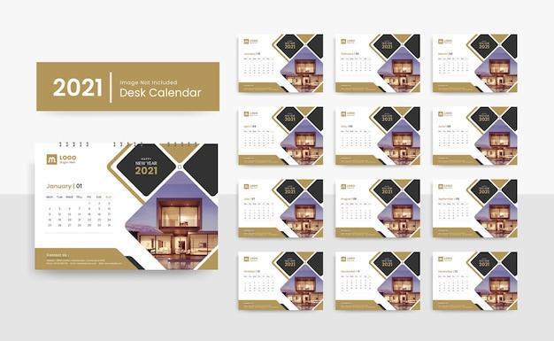 Szablon Kalendarza Biurkowego 2021 Dla Firmy Korporacyjnej Z Kreatywnym Projektem Premium Wektorów