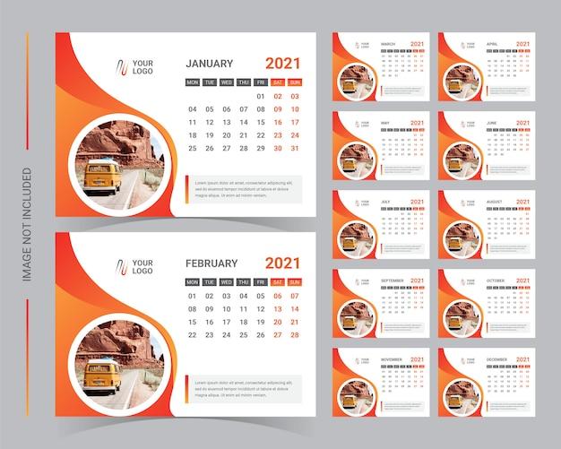 Szablon Kalendarza Biurkowego 2021 Premium Wektorów
