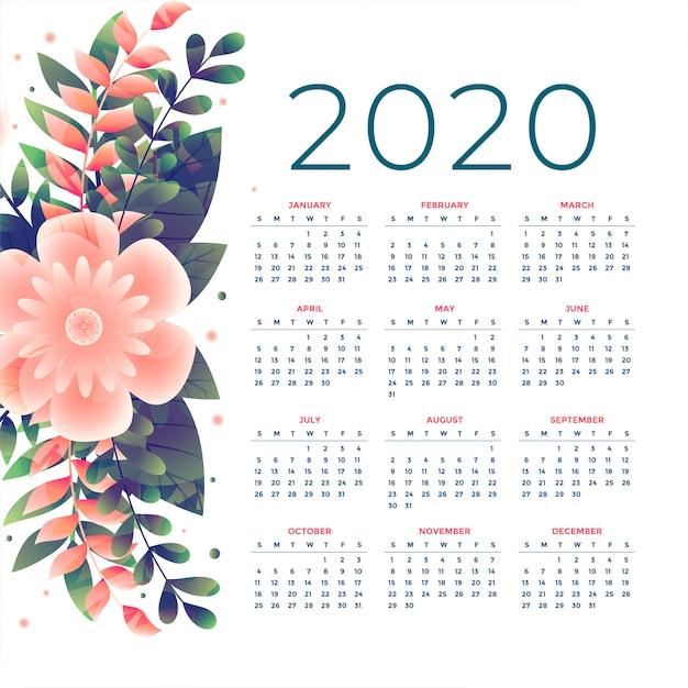 Szablon kalendarza kwiat 2020 Darmowych Wektorów
