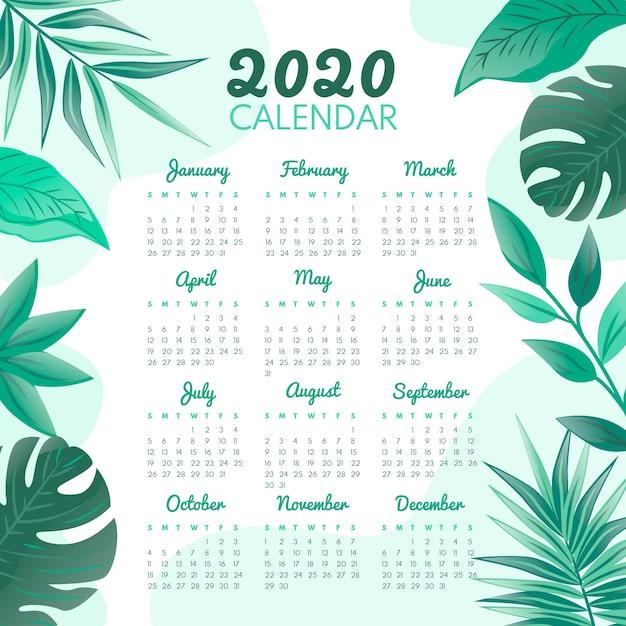Szablon Kalendarza Kwiatowy 2020 Darmowych Wektorów