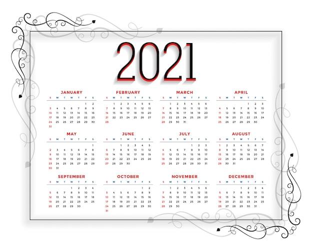 Szablon Kalendarza Nowego Roku W Stylu Kwiatowym Darmowych Wektorów