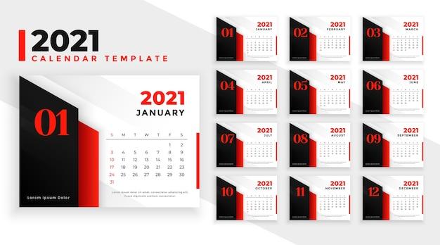 Szablon Kalendarza Nowoczesny Czerwony Nowy Rok Darmowych Wektorów