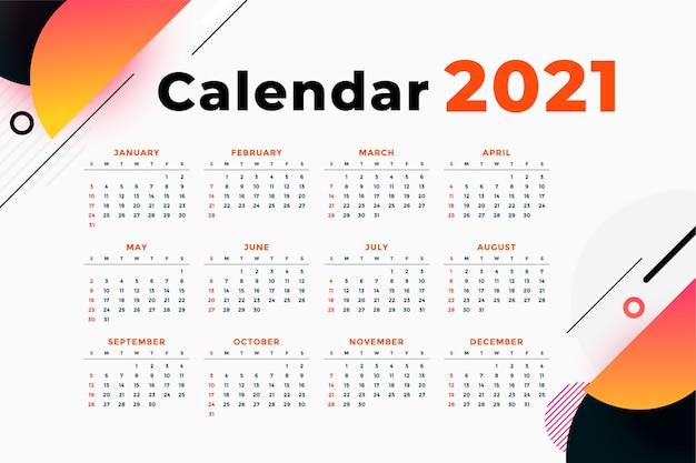 Szablon Kalendarza Nowoczesny Streszczenie Nowy Rok Darmowych Wektorów