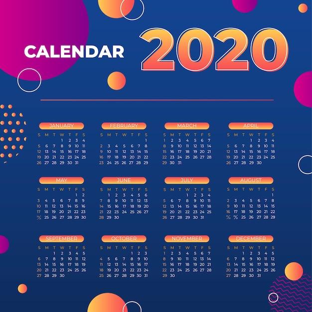 Szablon Kalendarza Streszczenie 2020 Darmowych Wektorów
