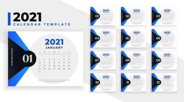 Szablon Kalendarza Z Niebieskimi Kształtami Geometrycznymi Darmowych Wektorów