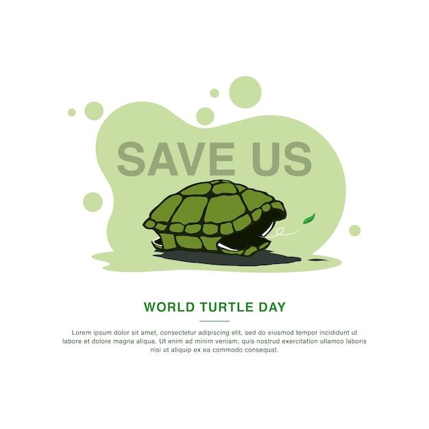 Szablon Kampanii Na Dzień żółwia światowego. Ilustracji Wektorowych Premium Wektorów
