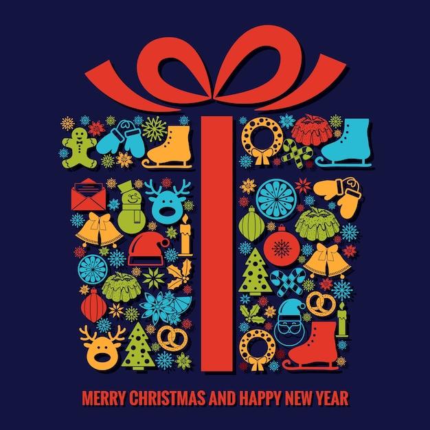 Szablon Kartki Bożonarodzeniowej I Noworocznej Z Wyborem Kolorowych Ikon Sezonowych Z Sylwetkami Ułożonymi W Kształcie świątecznego Pudełka Ze Wstążką Z Tekstem Poniżej Darmowych Wektorów