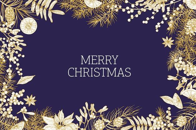 Szablon Kartki Bożonarodzeniowej Ozdobiony Drzewami Iglastymi I Szyszkami, Jagodami Jemioły, Plasterkami Pomarańczy I Anyżem Premium Wektorów
