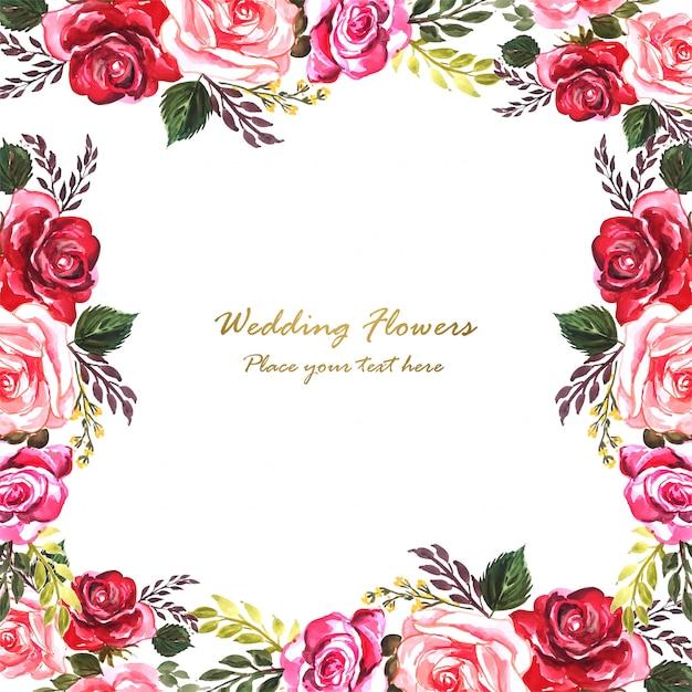 Szablon Karty Akwarela Kwiaty Ozdobne Zaproszenie Na ślub Darmowych Wektorów