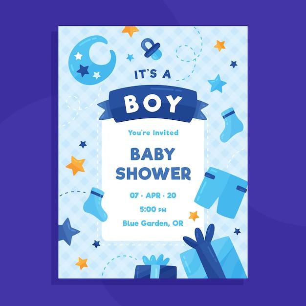 Szablon Karty Baby Shower Dla Chłopca Darmowych Wektorów