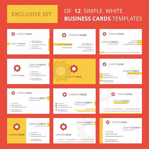 Szablon Karty Busienss Gear. Edytowalne Logo Creative I Wizytówka Premium Wektorów
