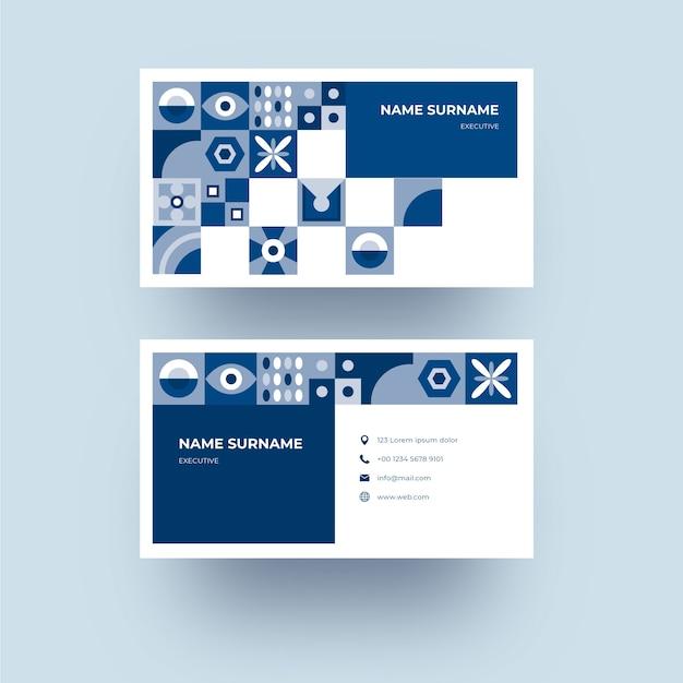 Szablon Karty Firmowej Z Abstrakcyjnym Klasycznym Niebieskim Wzorem Kształtów Darmowych Wektorów