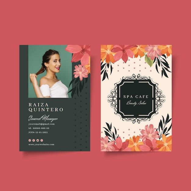 Szablon Karty Identyfikacyjnej Salonu Mody Kosmetycznej Darmowych Wektorów