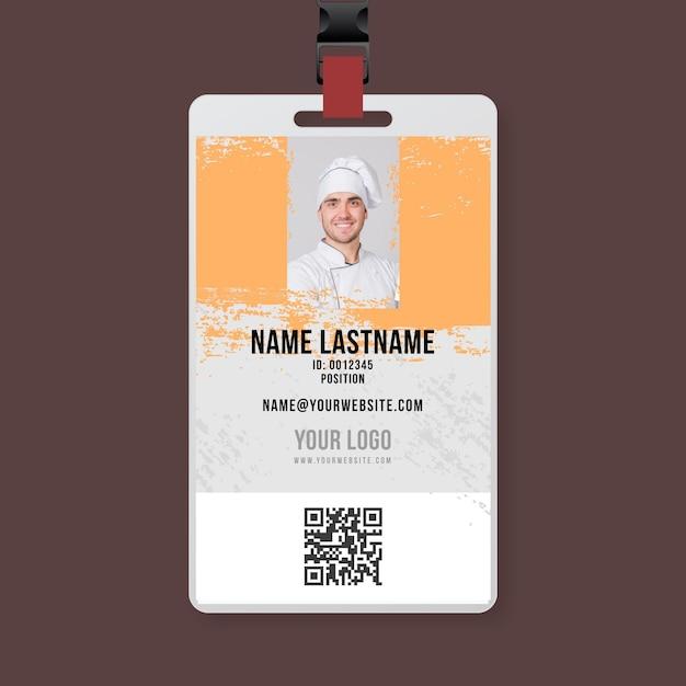 Szablon Karty Identyfikacyjnej Szefa Kuchni Grillowej Premium Wektorów