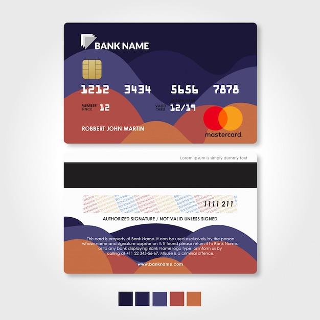 Szablon Karty Kredytowej I Debetowej Karty Z Czerwonym I Fioletowym Premium Wektorów