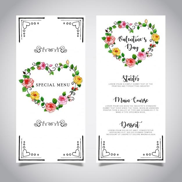 Szablon karty menu valentine akwarela Premium Wektorów