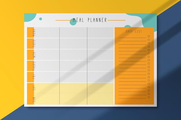 Szablon Karty Planowania Posiłków Darmowych Wektorów