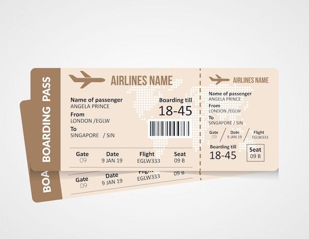 Szablon karty pokładowej biletu lotniczego Premium Wektorów