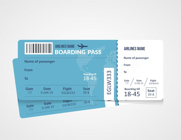 Szablon karty pokładowej linii lotniczej Premium Wektorów