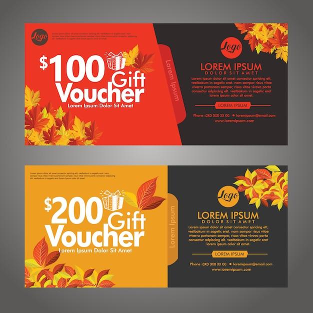 Szablon karty rabatowej jesień kupon upominkowy Premium Wektorów