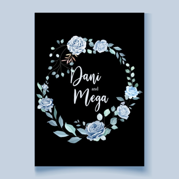 Szablon Karty ślub Z Piękny Niebieski Wieniec Kwiatowy Premium Wektorów