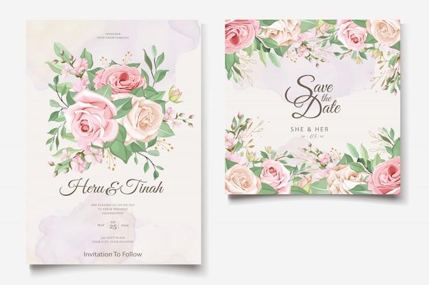 Szablon Karty ślub Z Piękny Wieniec Kwiatowy Darmowych Wektorów