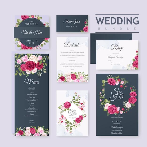 Szablon karty ślub z pięknym kwiatem i liści ramki Premium Wektorów