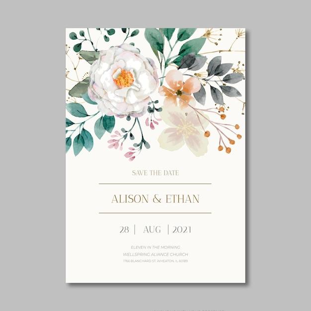 Szablon Karty ślubu Kwiatowy Darmowych Wektorów