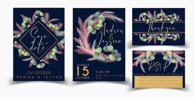 Szablon karty ślubu zestaw z trawy różowy pampasów Premium Wektorów