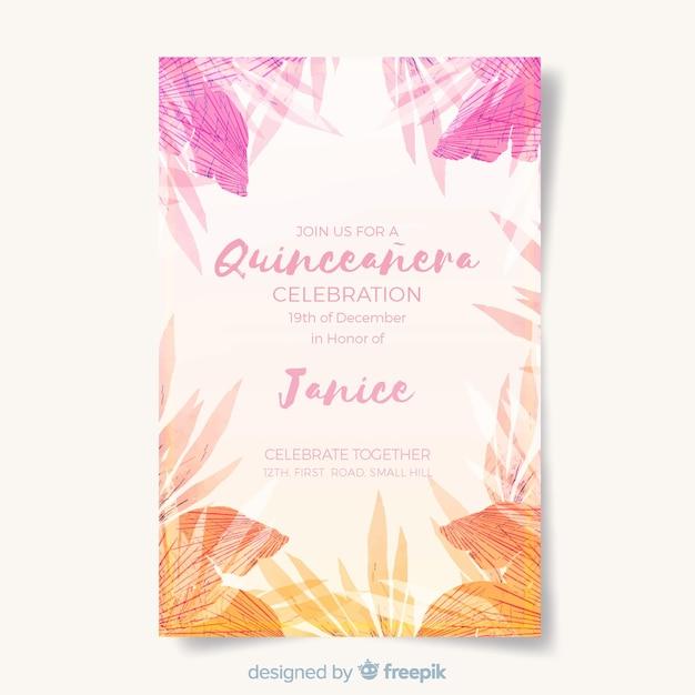 Szablon karty tropikalnych quinceanera Darmowych Wektorów
