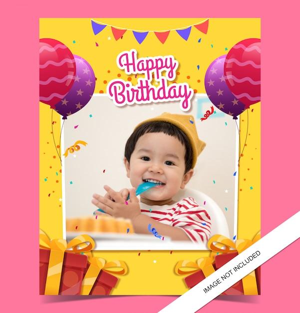 Szablon Karty Urodzinowej Dla Dzieci Ze Zdjęciem Premium Wektorów