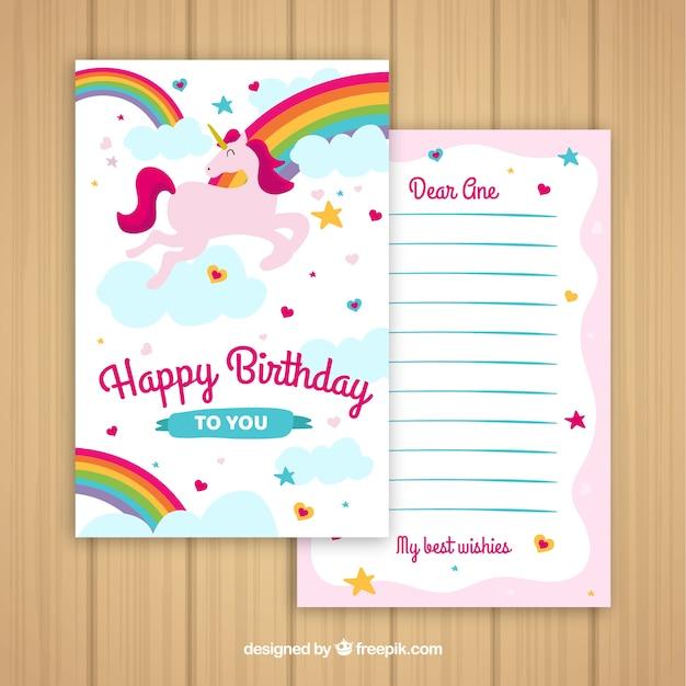 Szablon karty urodzinowej Darmowych Wektorów