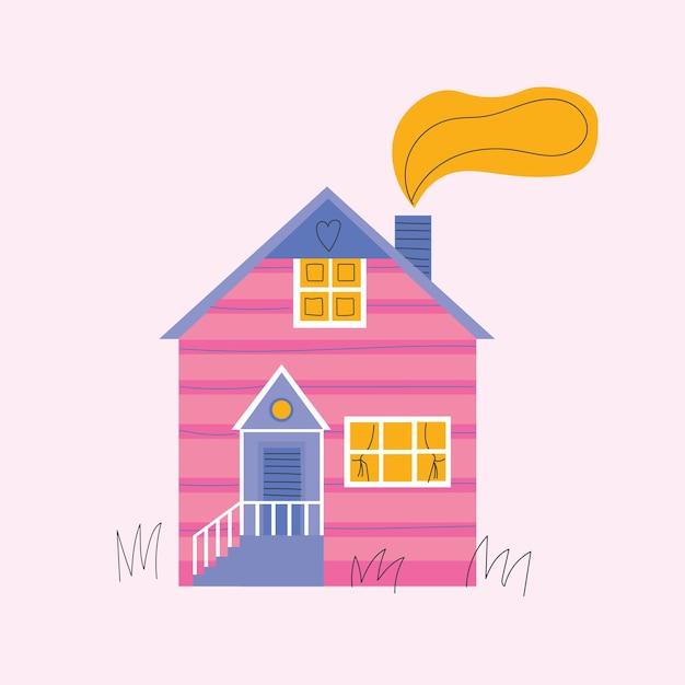 Szablon Karty Z Pozdrowieniami Przytulnych Domów Premium Wektorów