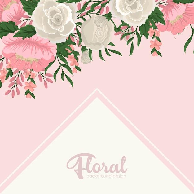 Szablon karty z pozdrowieniami z kwiatów tła Darmowych Wektorów