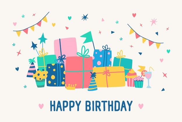 Szablon Karty Z Pozdrowieniami Z Napisem Happy Birthday I Stos Pudełek Prezentowych Premium Wektorów