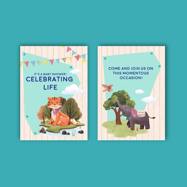 Szablon Karty Z Szczęśliwych Zwierząt Koncepcja Akwarela Ilustracja Premium Wektorów