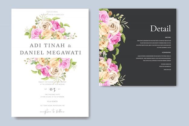 Szablon karty zaproszenia ślubne kwiatowy Premium Wektorów