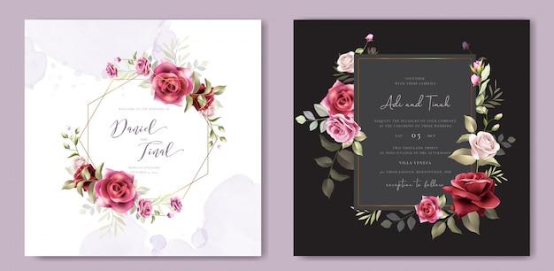 Szablon Karty Zaproszenia ślubne Wieniec Kwiatowy Premium Wektorów