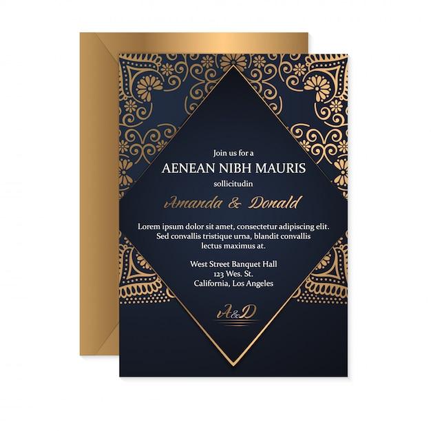 Szablon Karty Zaproszenia ślubne Z Etnicznym Stylu, Orientalny Design Darmowych Wektorów