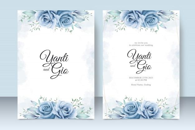 Szablon Karty Zaproszenia ślubne Z Pięknym Akwarela Kwiatowy Premium Wektorów