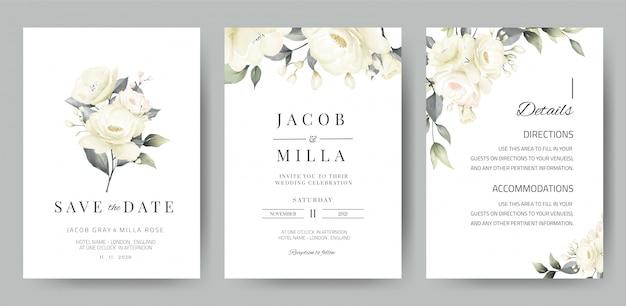 Szablon Karty Zaproszenia ślubne Zestaw Z Akwarela Bukiet Białej Róży Premium Wektorów