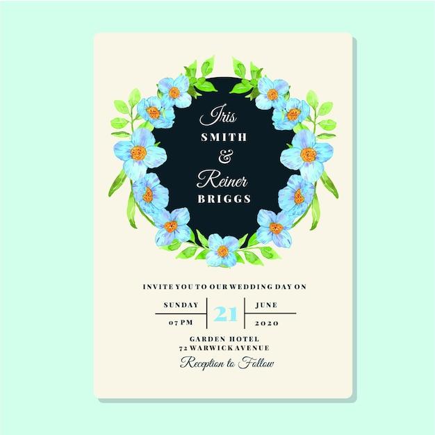 Szablon Karty Zaproszenie Akwarela Kwiatowy Niebieski Mak Rama Premium Wektorów