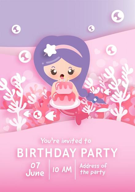 Szablon Karty Zaproszenie Na Przyjęcie Urodzinowe Z Cute Syrenka Gospodarstwa Ciasto Pod Oceanem. Premium Wektorów