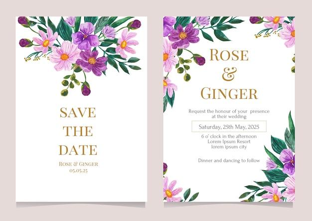 Szablon Karty Zaproszenie Na ślub Fioletowy Kwiat Ilustracja Akwarela Premium Wektorów