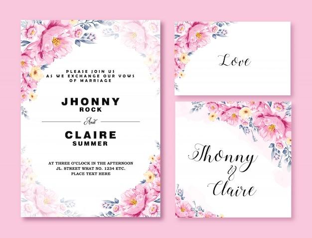 Szablon karty zaproszenie na ślub kwiat akwarela Premium Wektorów