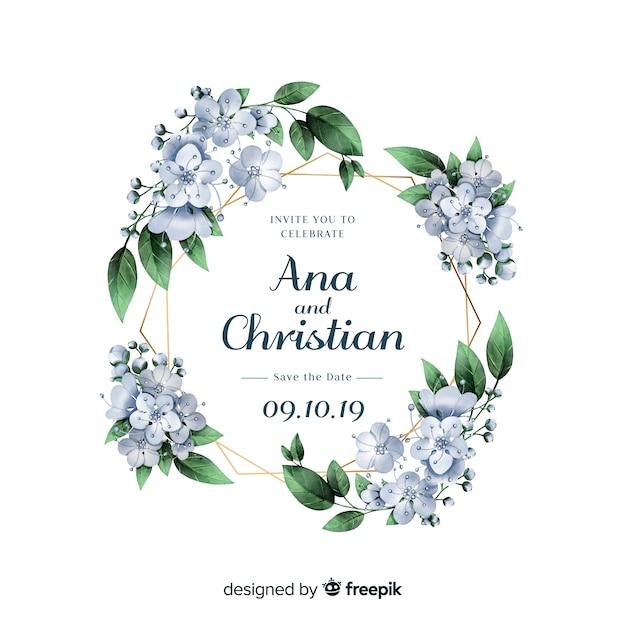 Szablon karty zaproszenie na ślub kwiatowy Darmowych Wektorów